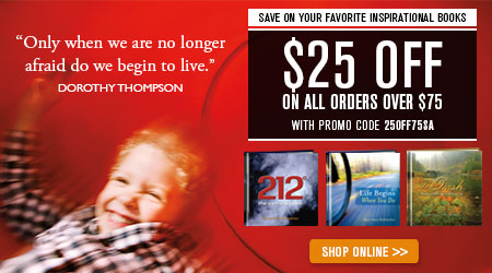 Save on your favorite inspirational books. Save $25 on any order of $75 or more. Use coupon code 25OFF75SA