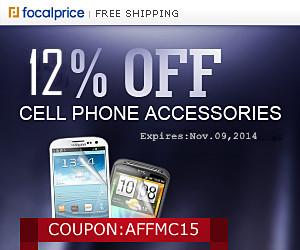 12% OFF Cellphone Accessories,Coupon Code:AFFMC15,Expires:Nov.09,Free shipping@focalprice.com