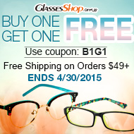 Buy one pair, get the second FREE at GlassesShop.com! Enter code B1G1. Ends 4/30/15.