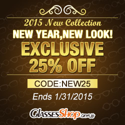 New year, new look! Exclusive 25% off(entire order) on 2015 new eyeglasses collection. Use code NEW25. Offer ends 1/31/2015.