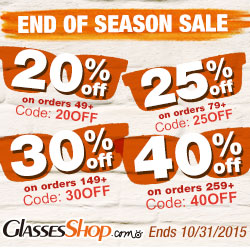 Save up to 40% off during the End of Season Sale at GlassesShop.com! Click for details – ends 10/31