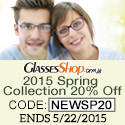 Save 20% off on the 2015 Spring Collection at GlassesShop.com!  Use code NEWSP20 – ends 5/22/15!