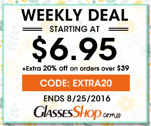 Weekly Deals Starting as Low As $6.95 at GlassesShop! Promo ends 8/25/2016