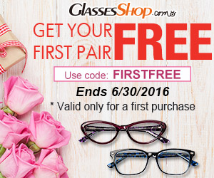 Get your first pair of glasses from GlassesShop.com FREE! Code: FIRSTFREE ends 6/30
