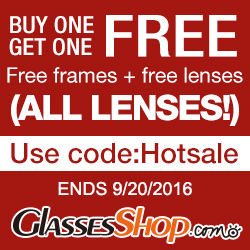 Buy One Get One Free at GlassesShop! Promo ends 9/20/2016
