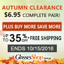 Autumn Clearance Offer at GlassesShop! Promo ends 10/15/2016