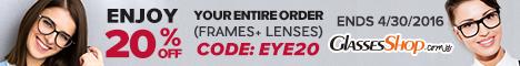 Entire Order 20% Off Offer at GlassesShop! Promo ends 4/30