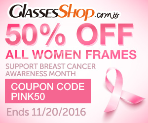 Breast Cancer Awareness Month Sale Offer at GlassesShop! Promo ends 11/20/2016