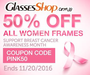 Breast Cancer Awareness Month Sale Offer at GlassesShop! Promo ends 11/20/2016