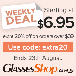 Weekly Deal Starting at $6.95 + extra 20% off Orders $39+ At GlassesShop.com! Promo ends 8/23/2017