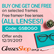 BUY ONE GET ONE FREE- Use Coupon Code GSDAD At GlassesShop.com - Ends 12/31/2017