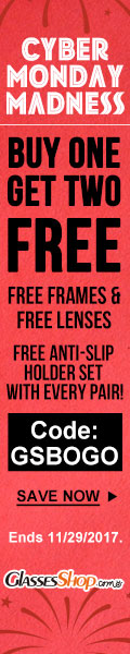 Cyber Monday Madness – Buy One Get TWO Free use Code GSBOGO At GlassesShop.com
