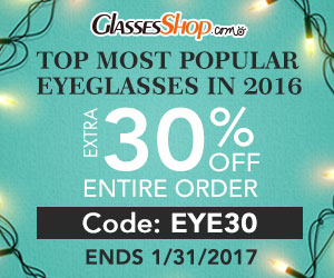 Popular Styles of 2016 - extra 30% off at GlassesShop using Code EYE30