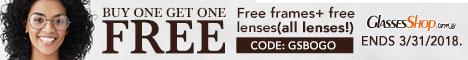 Buy one Get one FREE!  Use Code GSBOGO  Details At GlassesShop.com Ends 03/31/18