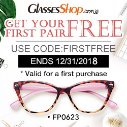First Pair Free!  Use Coupon Code FIRSTFREE At GlassesShop.com – Expires 12/31/2018