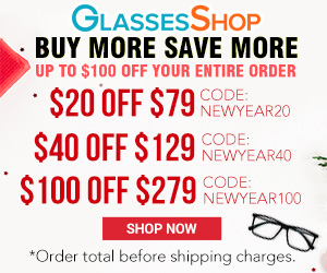 Buy more save more, $100 off on orders over $279 with code NEWYEAR100 at GlassesShop.com. Offer expires 2/28