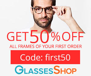 Get 50% off All Frames of Your First Order at Glassesshop.com with coupon code: FIRST50. Limited Time Offer.