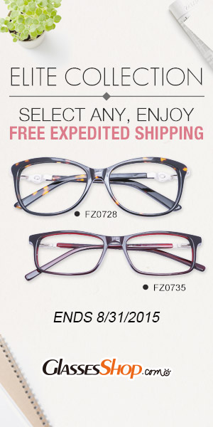 Buy any Elite Collection eyeglasses & get FREE expedited shipping at GlassesShop.com! Ends 8/31