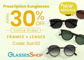 For a limited time, Take 30% Off Entire Order (Frames + Lenses) of Prescription Sunglasses at GlassesShop.com!  Use code SUN30.  Offer expires 3/31/2021.