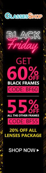 Black Friday Sale at GlassesShop.com - Save 60% off black frames with code BF60 - Valid 11/22 - 11/30 only