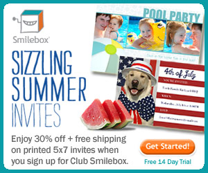 Enjoy 30% off plus free shipping on printed 5x7 invites at Smilebox.