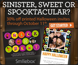 Get 30% off printed 5x7 Halloween invitations at Smilebox.