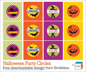 Free printable Halloween party circles from Smilebox.