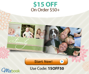 Get $15 off $50+ order at Mixbook