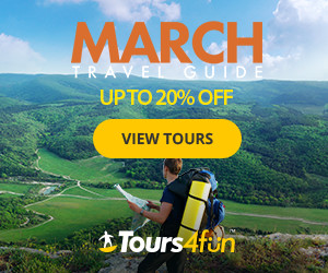 March Travel Guide - Up to 20% off select destinations now through 3/29 at Tours4fun.com!