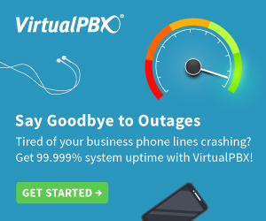 Get 99.999% system uptime with VirtualPBX!