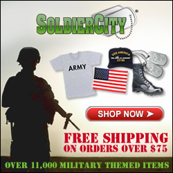 Shop over 11,000 Military Themed Items at SoldierCity and get FREE SHIPPING on orders over $75!