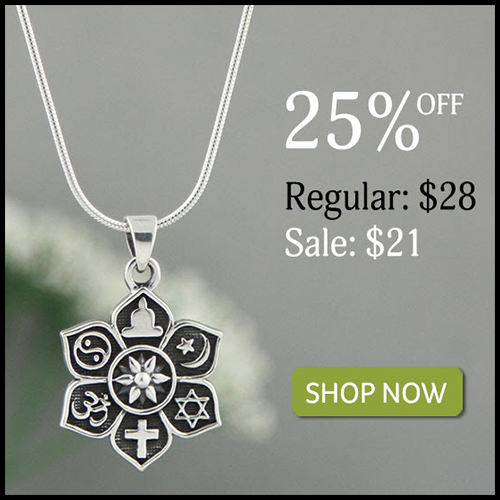 Sterling Silver Coexist Harmony Lotus Pendant
