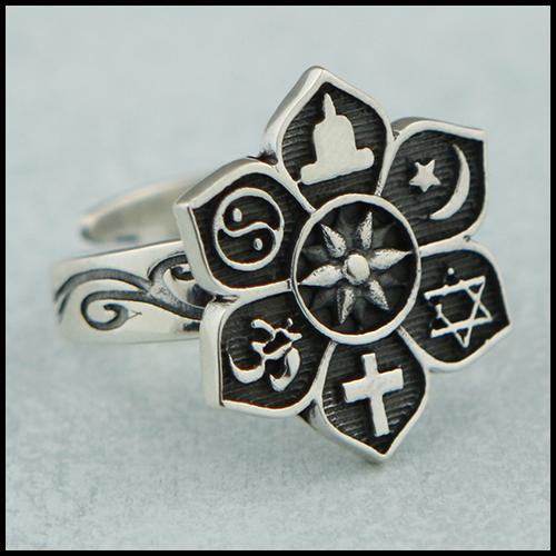 Adjustable Sterling Silver Coexist Lotus Ring