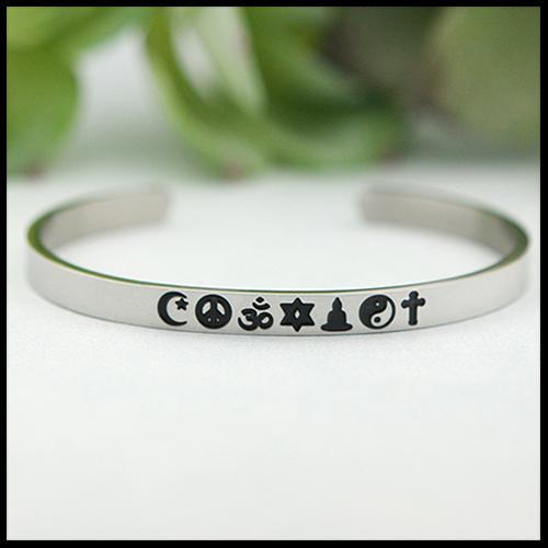 Coexist Stainless Steel Cuff Bracelet