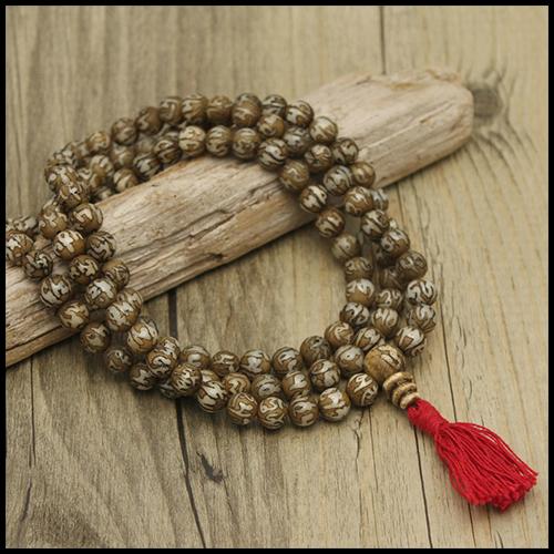Om Mani Padme Hum Etched Mala Beads