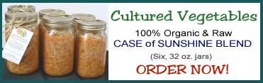 Cultured Vegetables - Case of Sunshine Blend (Six, 32 oz. jars) - BUY NOW!