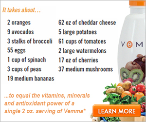 Compare the amount of groceries needed to meet the nutritional value of Vemma