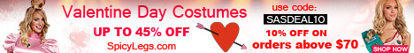 Upto 45% Off on Latest Valentine Day Costumes only at SpicyLegs.com. Additional 10% discount on $70 using coupon- SASDEAL10