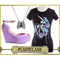 Plasticland Punk Skeleton Unicorn T-shirt, Lolita Purple Platform Shoes, Ribcage Necklace