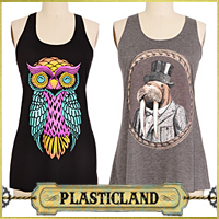 Vintage, Retro, Pinup style Clothes from Plasticland - Gentleman Walrus Tank Top, Bright Eyes Owl Tank Top