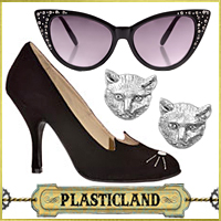 Noir Cat Eye Sunglasses, Cat Stud Earrings, Black Cat High Heels