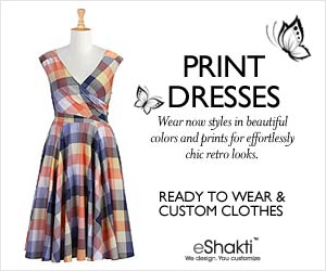 eShakti, Customized Clothing, Dresses, Tops, Blouses, Skirts, vintage inspired, retro, boho, 50s fashion, 60s fashion