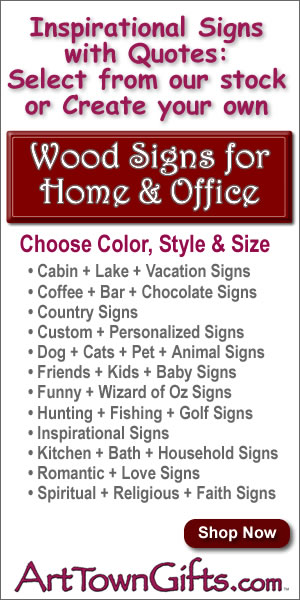 Choose from our selection of clever wood signs or create your own at Arttowngifts.com