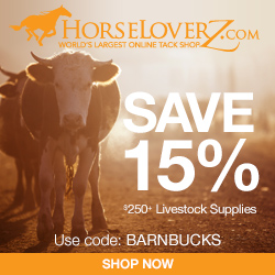 15% Off $250+ in Livestock Supplies at HorseLoverZ.com with code BARNBUCKS (valid through 2/28/17)