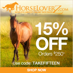 15% Off $250+ at HorseLoverZ.com! Use code TAKEFIFTEEN
