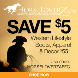 $5 Off $55+ Western Lifestyle Items at HorseLoverZ.com with code HORSELOVERZAFFC