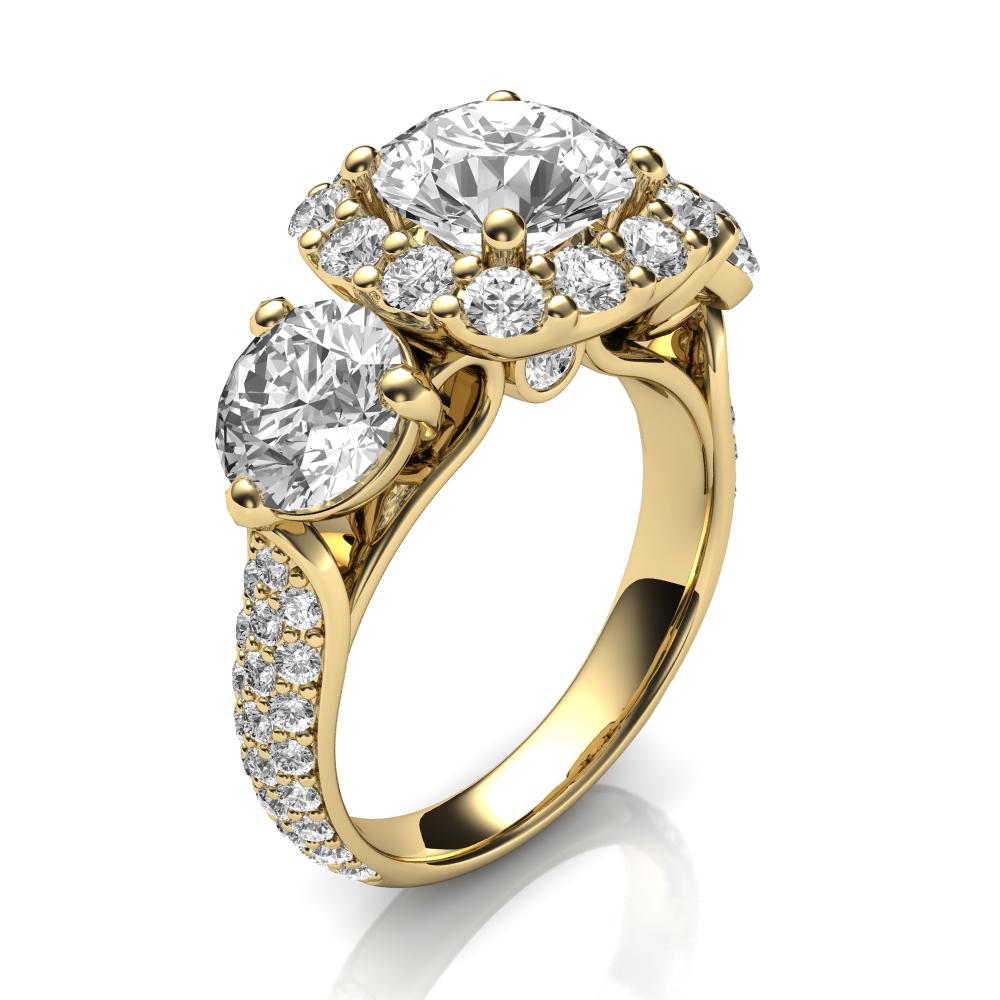 Three diamonds halo ring