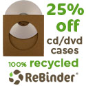 25% off recycled CD and DVD sleeves
