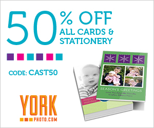 300x250 CAST50 20 Photo Cards (4x8) Only $3! Plus 50% Off All Stationary and Cards AND 40 FREE Photo Prints!