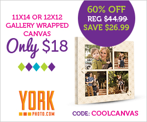 Gallery Wrapped Photo Canvas (11X14 or 12X12) - Just $18 - Save $26.99!
